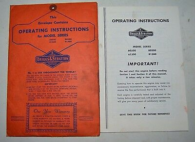 Briggs & Stratton Operator's Manual for 60500, 61500, 80500, 81500 Engines
