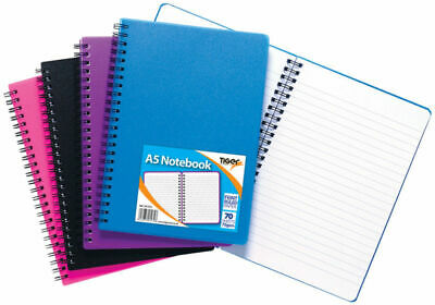 A5 or A4 Wire Spiral Wirebound Notebook  Note Book Pad Ruled Feint