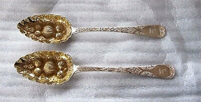 1817 English Georgian Antique Sterling Silver Gilded Berry Spoons Spoon London