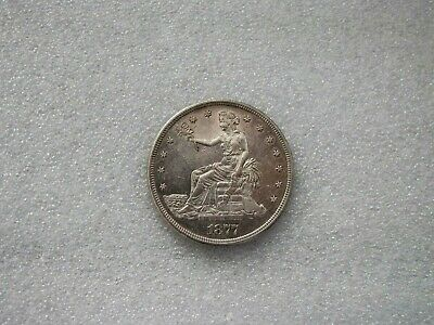 1877-S Silver Trade Dollar Seated Liberty great Toning Sharp detail AU++