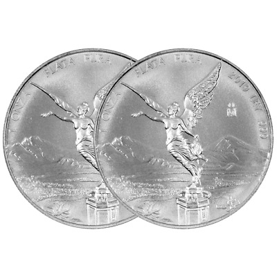 Lot of 2 - 2019 Silver Mexican Libertad Onza 1 oz Brilliant Uncirculated