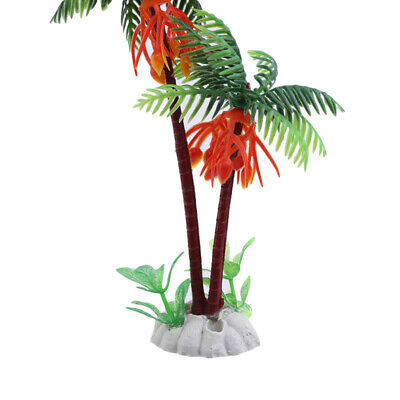 Aquarium Landscape Fish Tank Decor Ornament Green Palms Tree Water Plants ModelJ