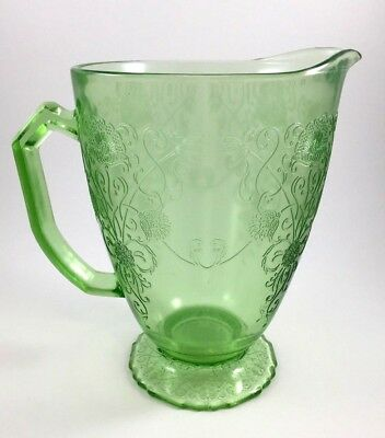 Depression Glass Green PITCHER in Florentine Pattern by Hazel Atlas Glass Co.
