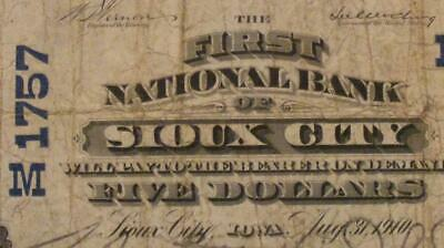 Sioux City, Iowa IA 1902 $5.00 PB Ch. 1757 The First National Bank