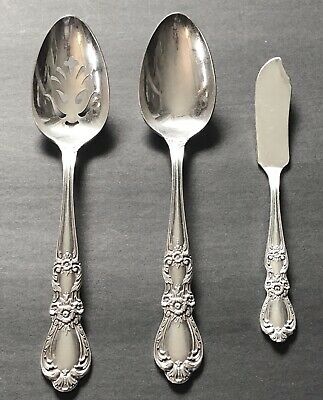 3 International IS 1847 Rogers Bros HERITAGE Silverplate Flatware SERVING PIECES