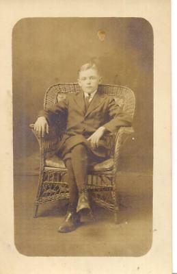 Sharp Dressed Suit Boy Kid In Wicker Chair Antique 1920s Real Photo Postcard