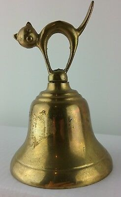 Vintage Brass Bell SCAREDY CAT/KITTEN Made In England About 3 3/4""