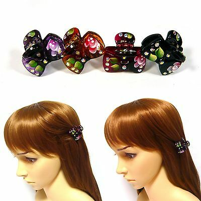 Pair Small Mini Leaf Floral Hand-Painted Plastic Bow Hair Claw Clip Clamp Pin