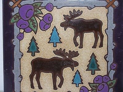 Vintage Enameled Art Tile Trivet MOOSE 6""