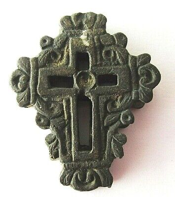 ANTIQUE 17c OLD RUSSIAN ORTHODOX ORNATE BRONZE TRAVEL DOUBLE CROSS