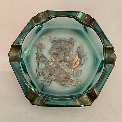 Vintage Mexican Aztec or Mayan God Sterling Silver On Blue Glass Ashtray