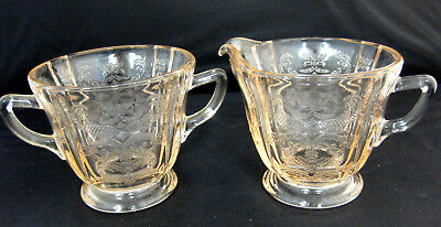 Pink Depression Indiana Glass Creamer & Sugar Bowl