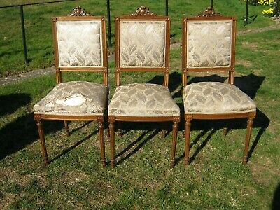 A Set of 3 French Beech Parcel Gilt Side Chairs with Carved Backs & Sprung Seats