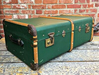 Vintage Green Leather & Wood Steamer Trunk Chest Banded 30s Luggage Brass Old