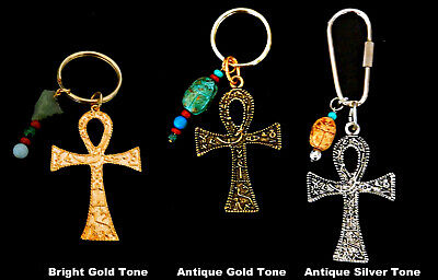 Egyptian Ancient Reproduction Key Chains - XL Ankh w. Hieroglyphs / 3 styles