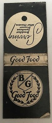Old Matchbook Cover BG Good Food Locations In San Francisco CA