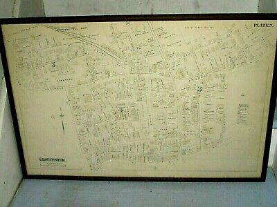 Ca 1880 Colored Map Gloucester, MA Property Owners, City Hall, Churches, Schools