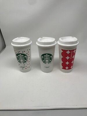 STARBUCKS REUSABLE TRAVEL TO GO PLASTIC CUP 16OZ-GRANDE COFFEE Set Of 3