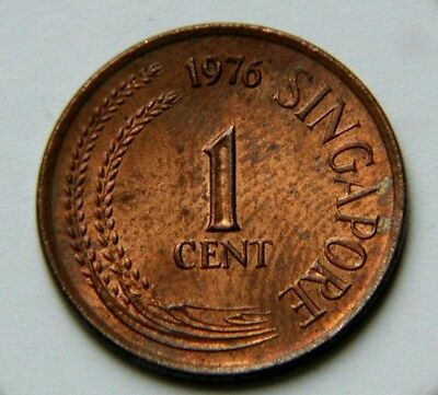 Singapore 1976 1 CENT Coin AU with Toned-Lustre