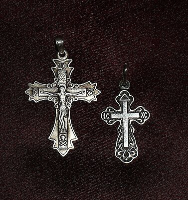 Vtg 2 Russian Greek Orthodox Sterling Silver Niello Cross Pendant Set Of 2 #6