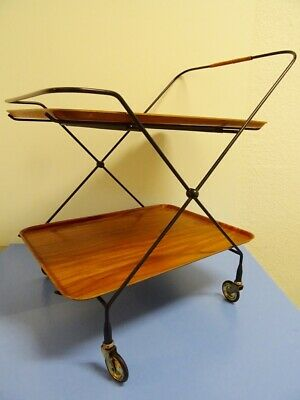 JIE Gantofta serving cart folding table TEAK tea trolley era Vodder 50s Sweden