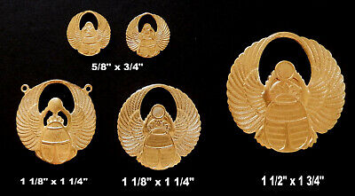 Vintage Brass Stampings Egyptian Revival/ Winged Scarab - 3 Sizes / 4 styles