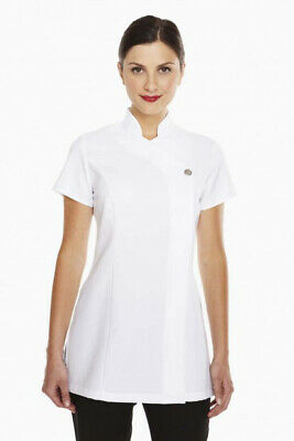 Simon Jersey White Single Button Beautician Tunic Salon Spa Beauty Fm0730