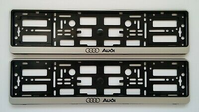 2 x  Silver Effect License Number Plate Holder Surround Frame for AUDI