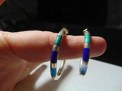 Sterling Silver Earrings With Malachite, Turquoise & Lapis  20 Grams