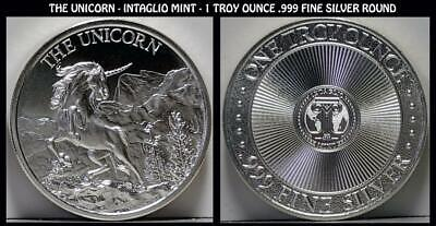 The Unicorn 1 Troy Ounce .999 Fine Silver Round by Intaglio Mint