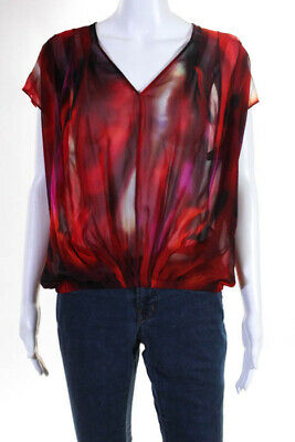315d1479b7a724 Exclusive for Intermix Red Multi Color Abstract Silk Short Sleeve Top Size  Small