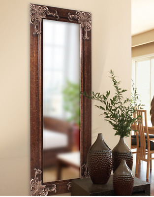 Full Length Wall Mirror Tall Ornate Antique Brown Scroll Bedroom Hall Lounge New