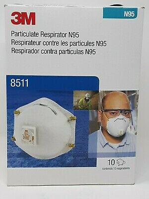 3M 8511 Particulate N95 Respirator Mask Filter Valve 10 Pack
