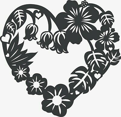 CNC VECTOR DXF Plasma Router Laser Cut DXF-CDR Files -Floral Heart