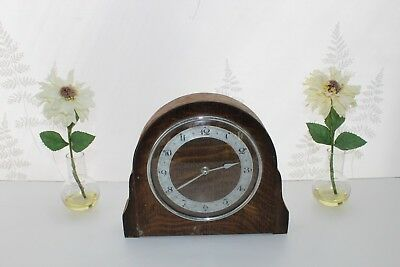 John D. Francis Vintage Wooden Mantle Clock, Wind Up, Made in England. Mantel.