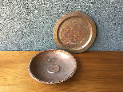 2 1938 Hull House Chicago Copper Bowl Tray Vintage Deco Arts & Crafts Era