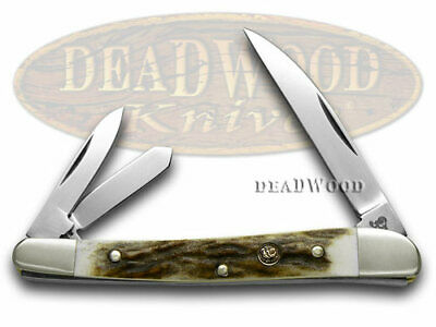 HENand ROOSTER AND Genuine Deer Stag Wharncliffe Whittler 263DS Pocket Knife