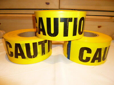 """LOT-3 YELLOW CAUTION TAPE-Thick/Strong Barrier Tape Rolls 1000'x3"""" x 6.5""""w"""