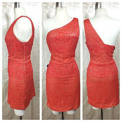Bebe Sexy Hot Coral Lace One Shoulder Stretch Bodycon Cocktail Dress Sz L $159