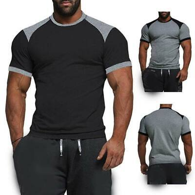 Men's short sleeve slim fit casual muscle tee t shirts tops o neck summer blouse