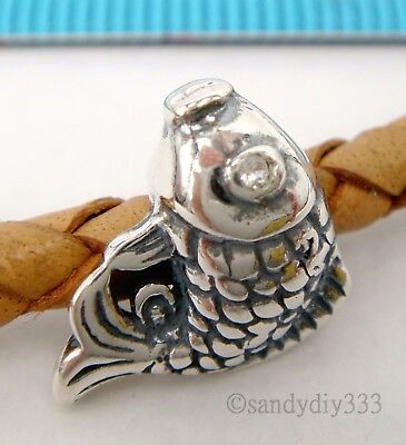 1x OXIDIZED STERLING SILVER CZ FISH BEAD for EUROPEAN CHARM BRACELET #1951
