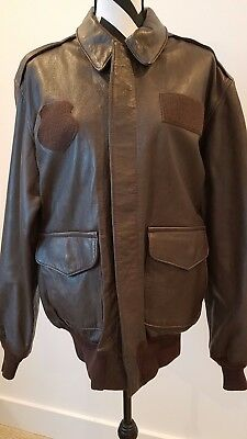 504a5198b BROWN LEATHER AF Flight Jacket by Avirex, Type A-2, 42 Long