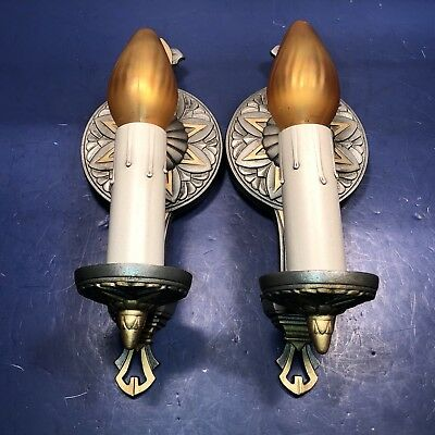 Pair of antique Art Deco sconces with original patina Newly Wired 28F