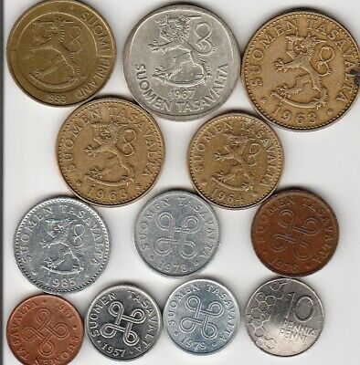 12 different world coins from FINLAND