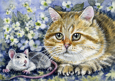 ACEO Original Watercolor Miniature Painting Cat and Rat  by Elena Mezhibovsky