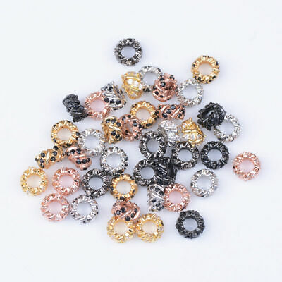 Zircon Gemstone Pave Rondelle Big Hole Charm Bracelet Spacer Beads Findings 8MM