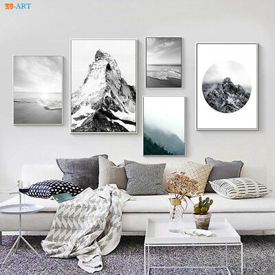 Nature Poster Canvas Painting Mountain Beach Printed Wall Art Poster Home Decor