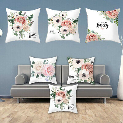 Home Throw Cushion Cover Pillow Case Square Rose Flower Printed Office Decor