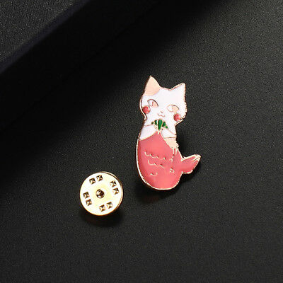 Mermaid Half Cat Half Fish Collar Pins Badge Corsage Cartoon Brooch Gift LD