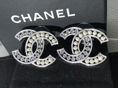 1dc7d4105 Chanel Ss18 Classic Silver Tone Big Cc Logo Crystals And Pearls Studs  Earrings
